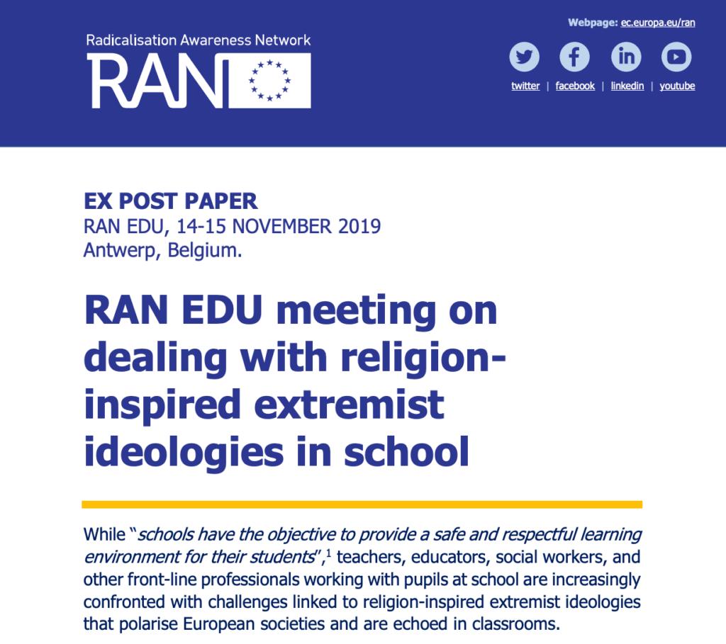 RAN EDU meeting: religion-inspired extremist ideologies in school